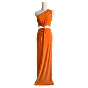 NWOT Neon Orange Cutout Maxi Dress